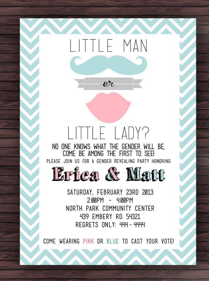 Printable Gender Reveal Party Invitation - Mustache and Lips ...