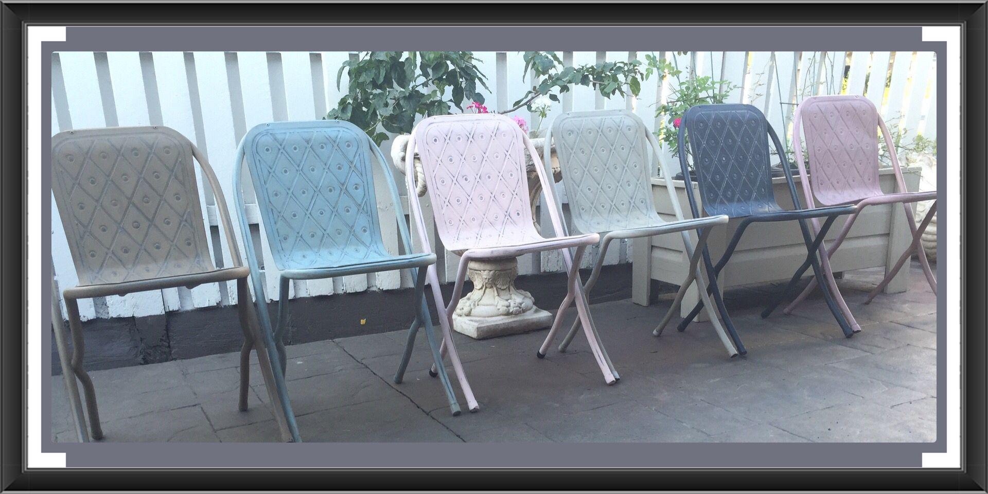 pressed metal furniture. Pressed Metal Pastel Chairs Vintage Upcycled Furniture