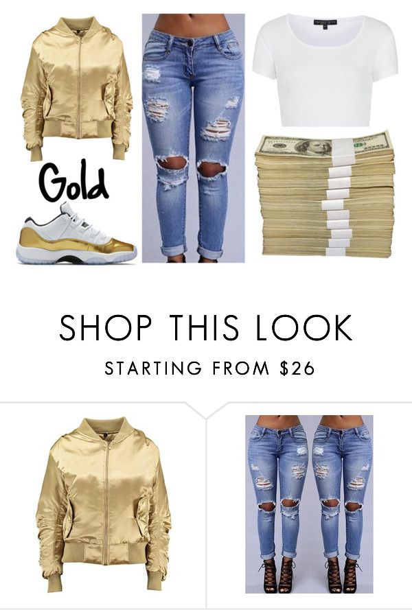 """Gold!!"" by thefemaletupac ❤ liked on Polyvore featuring Topshop, gold, pretty and jordan"