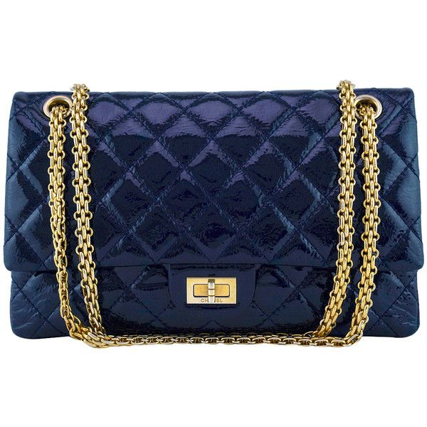 7538865f754ccf Pre-Owned Chanel Navy Blue Patent 226 Reissue Classic 2.55 Double Flap...  ($2,999) ❤ liked on Polyvore featuring bags, handbags, navy blue, chanel  purse, ...
