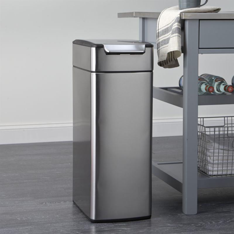 simplehuman 40 liter 10 5 gallon slim touch bar trash can rh pinterest co uk simplehuman stainless steel kitchen trash can simplehuman kitchen trash can specs