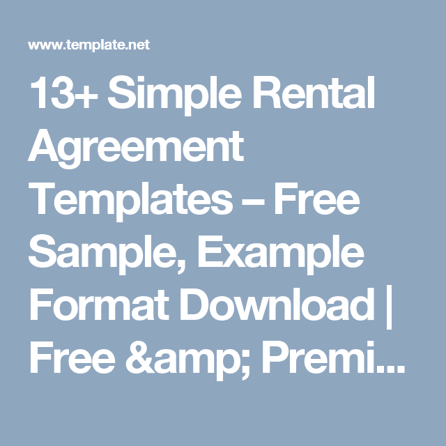 13 simple rental agreement templates free sample example format