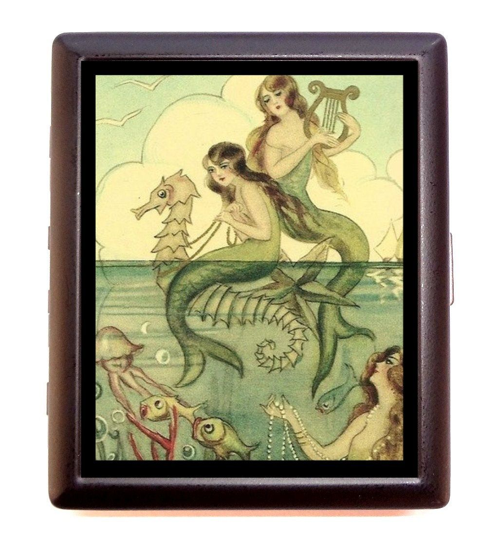 Mermaid Seahorse Cigarette Case Jellyfish Harp Whimsical Nautical ...