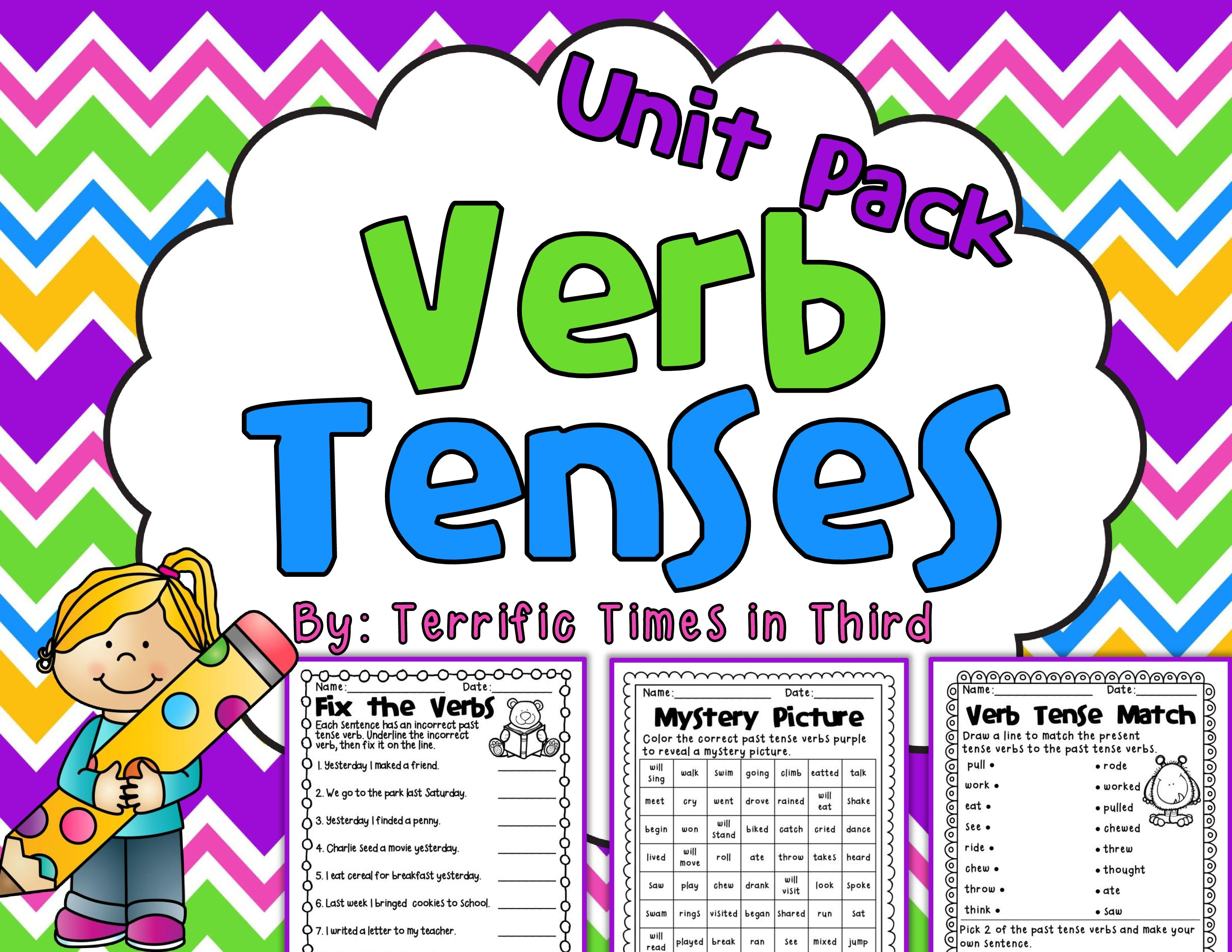 Verb Tenses Unit Printables For Past Present And Future