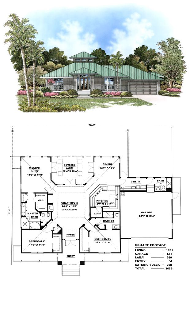 Florida Style House Plan 60772 With 3 Bed 3 Bath 2 Car Garage Florida House Plans Beach House Plans Best House Plans