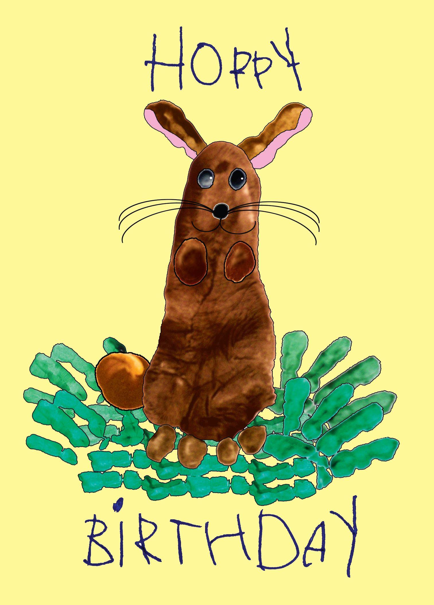 Hoppy Birthday card using kids footprints and fingerprints. Benefits ...