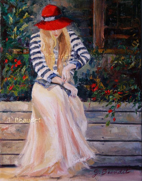 Original Oil Painting woman figure Red hat French Girl ...