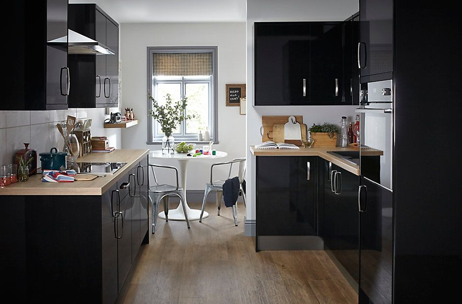 Black Gloss Kitchen Cabinets Part - 20: At Bu0026Q We Have 43 Different Styles Of Kitchen. IT Santini Gloss Black Slab  Is A Chic And Excellent Value Kitchen