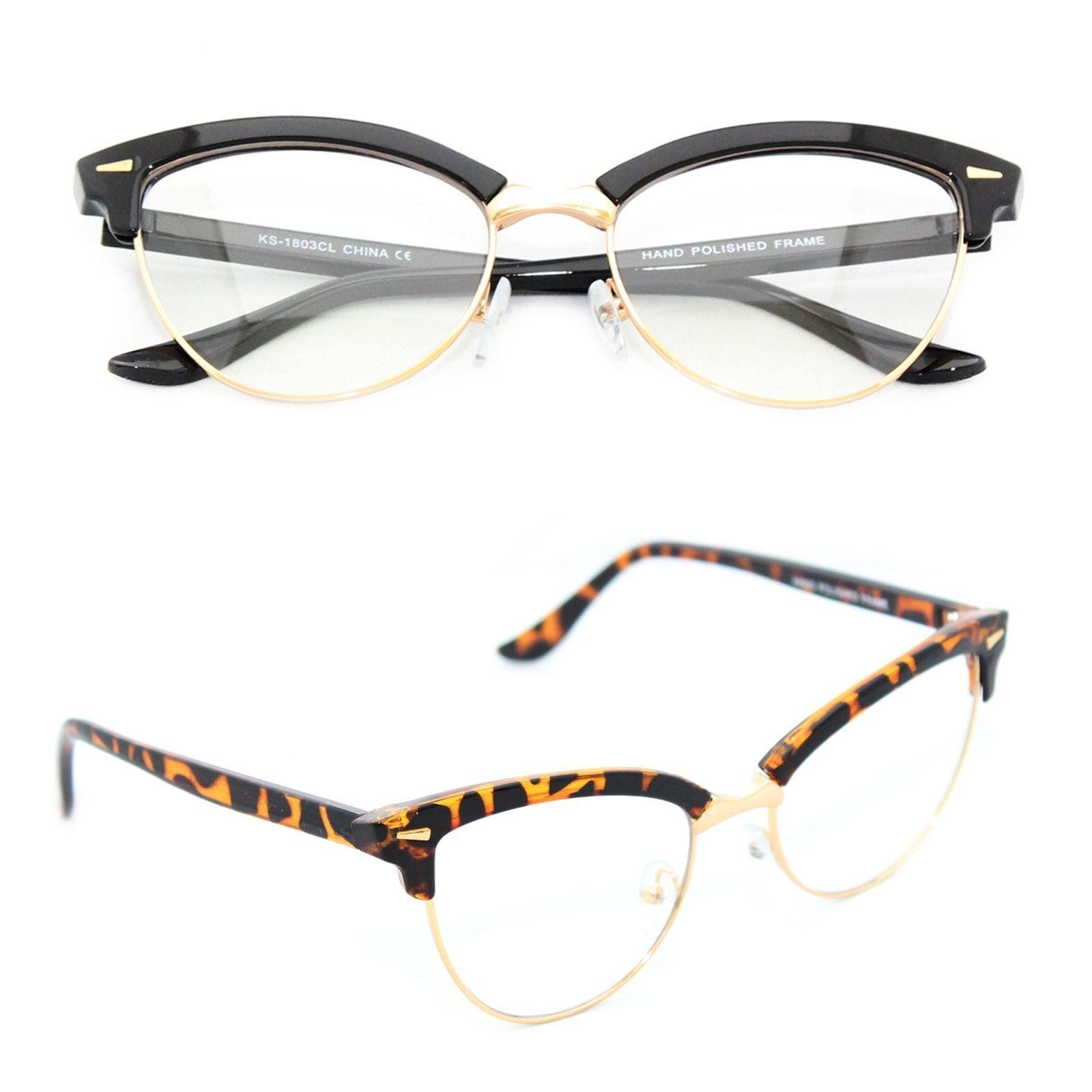 64f5c61cde Women s Classic Eye Glasses Vintage Cat Eye 50S Retro Clear Lens Gold Frame  Mfc