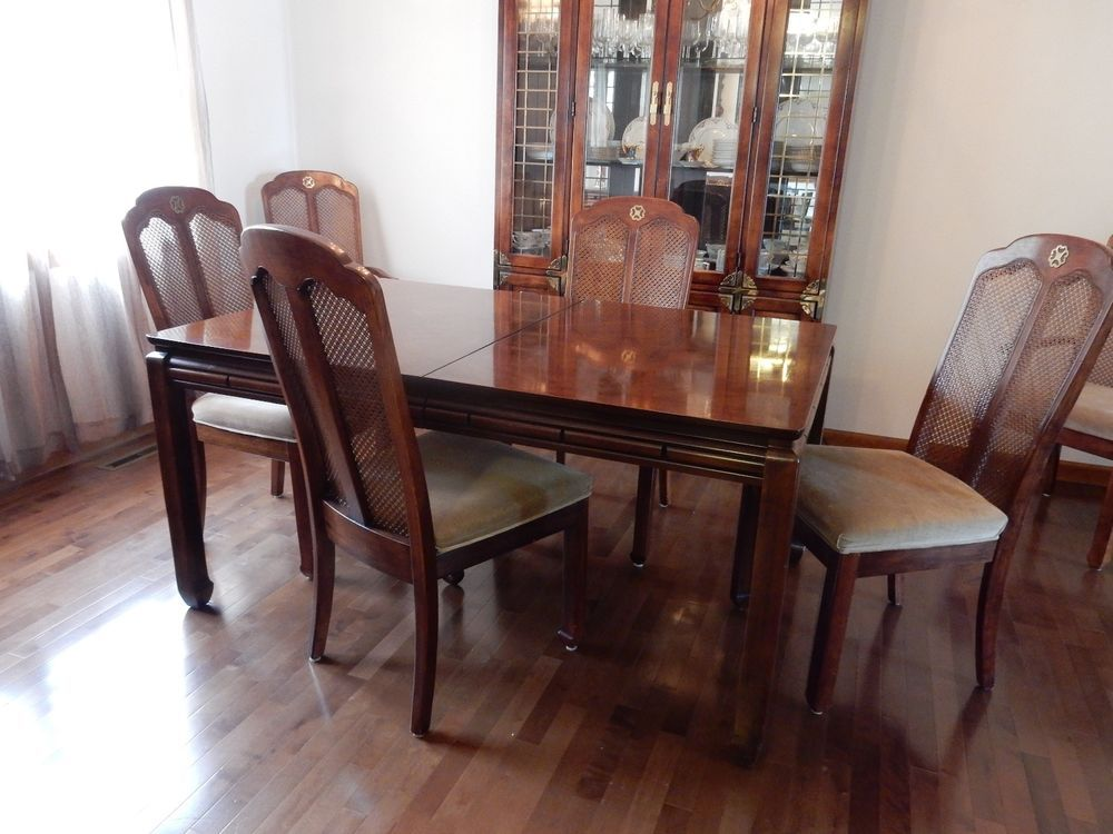 A Superior Quality Dining Set From About 35 Years Ago Includes Table With Two Leaves And Six Chairs Signed By Luxury Maker Bernhardt Center