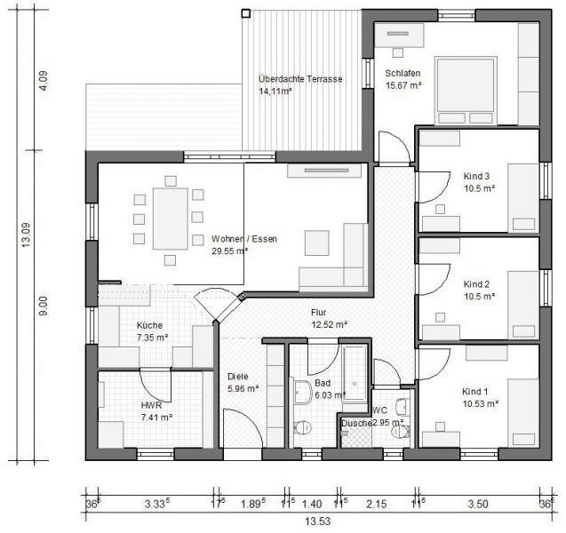 Grundriss bungalow 3 zimmer  BGXL3 Winkelbungalow Grundriss 112qm 4 Zimmer | Grundriss ...