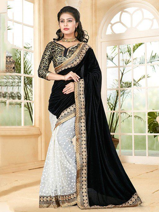 3edd4746a6f7d Black and White Velvet Saree with Lace Work