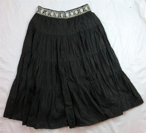 BCBG Maxazra Stunning Maxi Black Peasant Boho Skirt Sz Large Rhinestone Lined   eBay $32.95