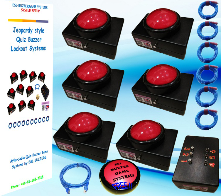 New 100mm 6 Player Dome Slam Buzzer System Llamadores