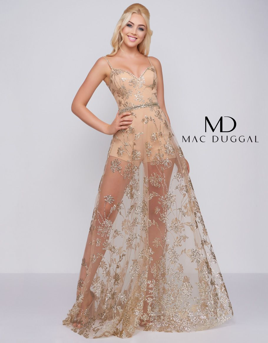 7f9d5e971d14 Cassandra Stone by Mac Duggal. Gold romper with beaded applique illusion over  skirt. Beaded waistband and shoulder straps.