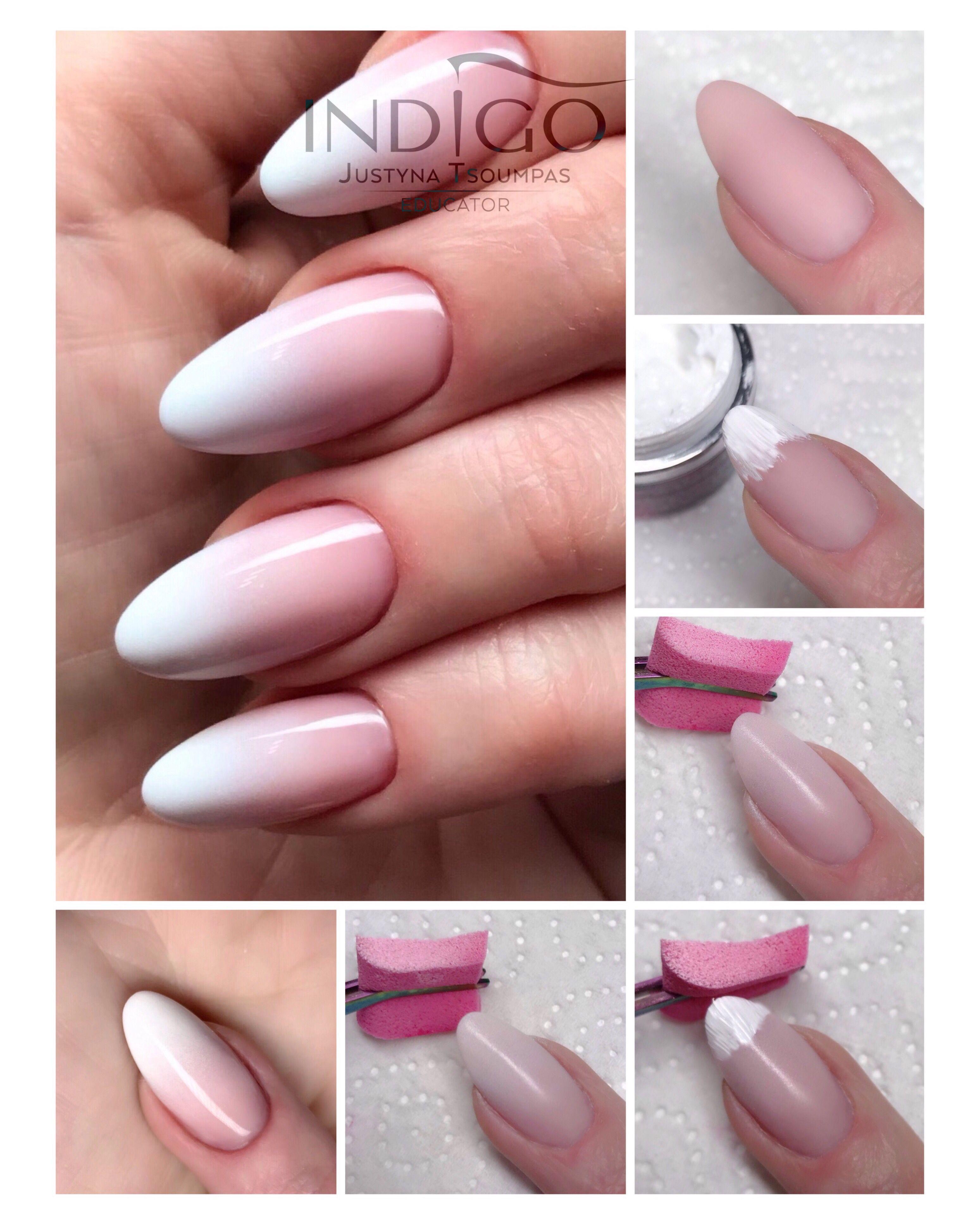 Babyboomer On Top With Nail Art Gel White Indigo Nails Lab Baden Baden Shortgelnails In 2020 Indigo Nails Nail Lab Ombre Gel Nails