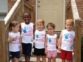 Kids can make their own flag t-shirt. Just get an inexpensive white T and some fabric paint. They will love showing off what they made and being patriotic!