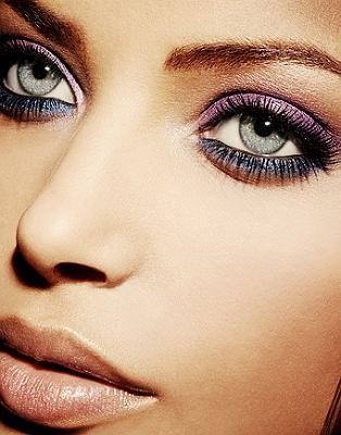 purple eye shadow with dark blue/grey bottom eye liner