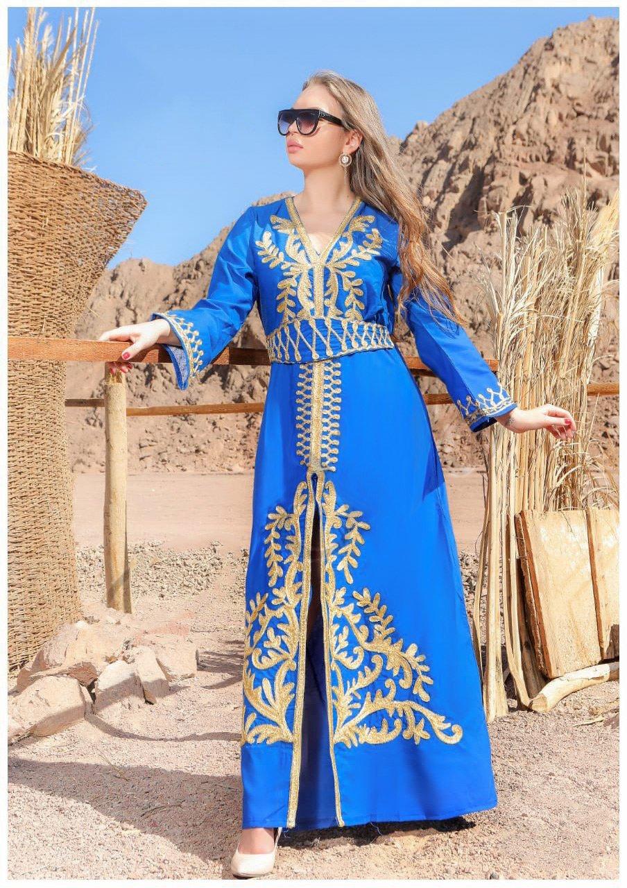 جلابية باللون الأزرق تطريز يدوي كود 115 فستان جلابية نسائية قفطان مغربي متجر الملكة Fashion Dresses Cover Up