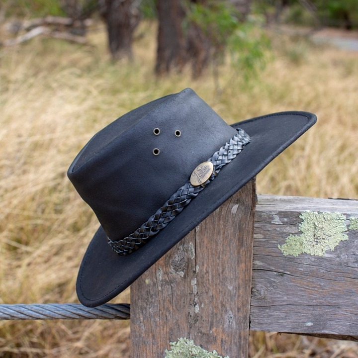 Jacaru Black Bovine Leather Australian Made Bush Hat Handmade Sent from Australia