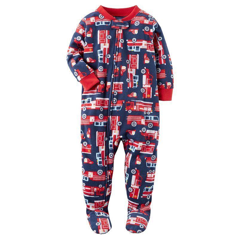 6b0dcab90b3d Toddler Boy Carter s Print Fleece Footed Pajamas