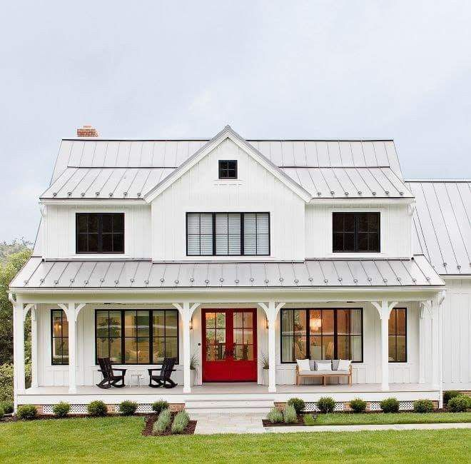 Metal Roof White House Red Door Dreaming House Home House Plans