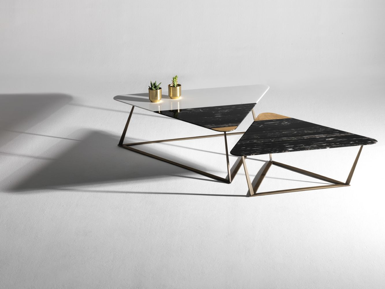Set Of Triangle Marble Tables Port Black And White Thassos Geometric Coffee Table Marble Table Triangle Coffee Table [ 1000 x 1333 Pixel ]