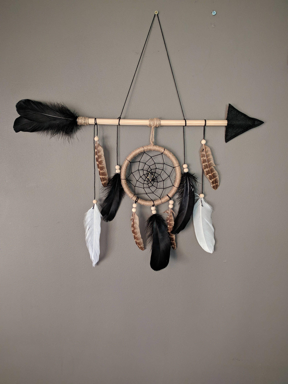 Black natural arrow nursery dream catcher/ large baby mobile/ Arrow wall hanging/ Baby boy dreamcatcher gift #dreamcatchers