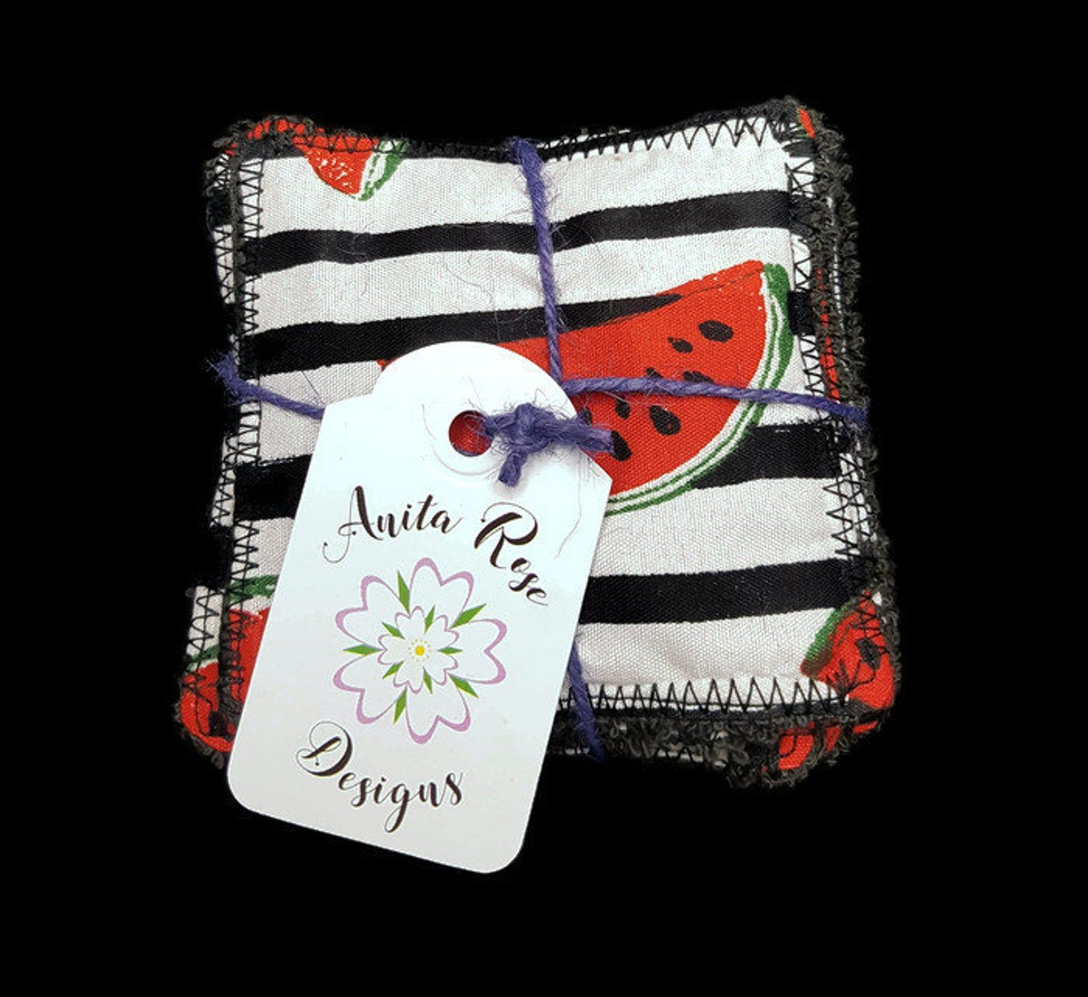 6 Watermelon Reusable Make Up Remover Face Wipes Vegan