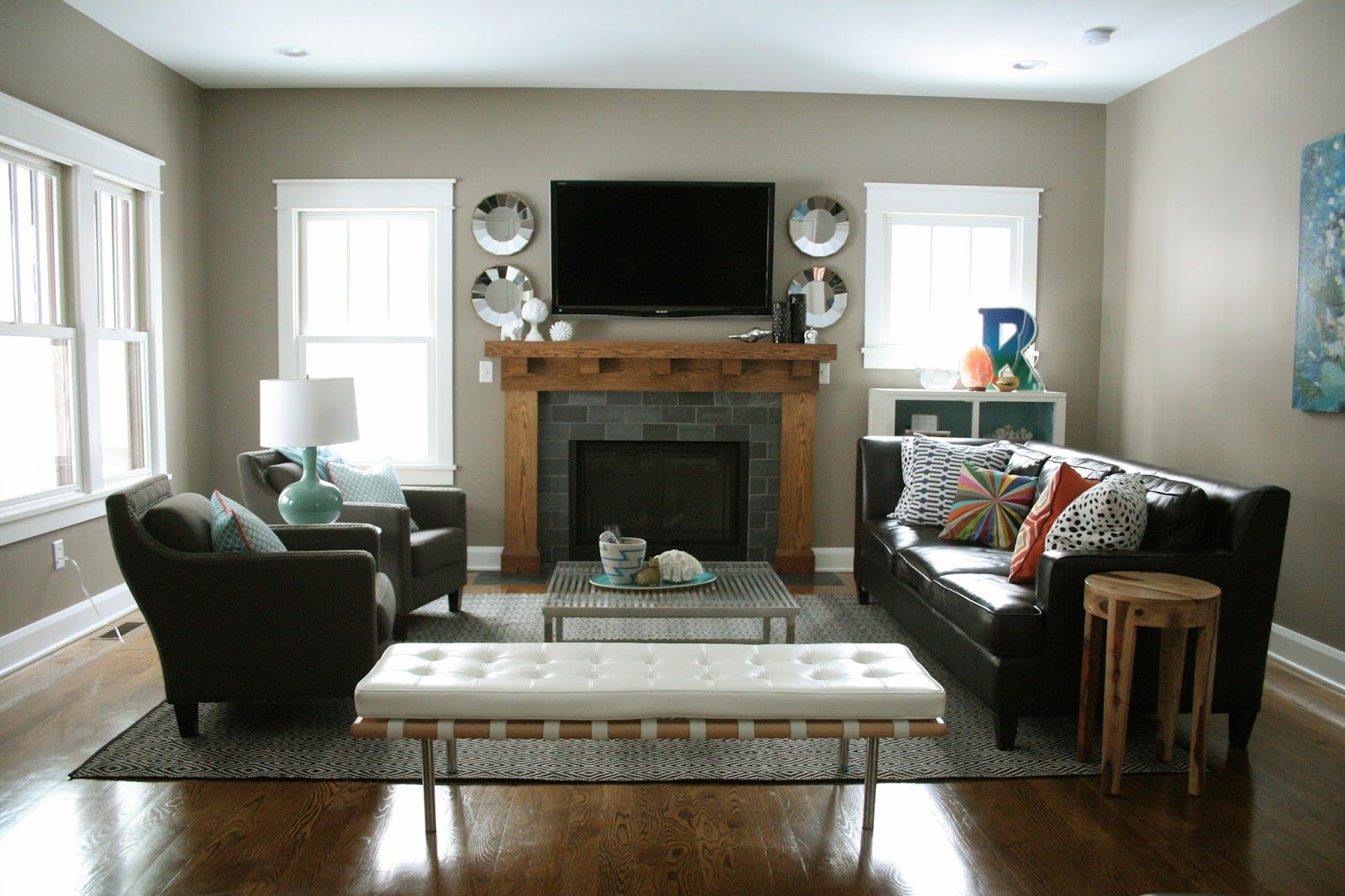 Living Room Ideas With Sectionals And Fireplace layout #4 uses just the larger part of our sectional, opposite our
