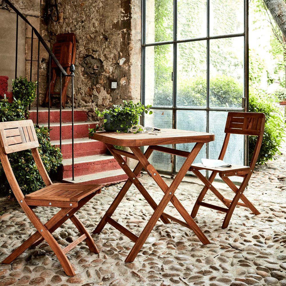 Table de jardin pliante en acacia huilé (2 places) - Alinéa ...