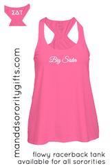 Gotta have it! Cotton pink Sigma Delta Tau Big Sister Tank Top.