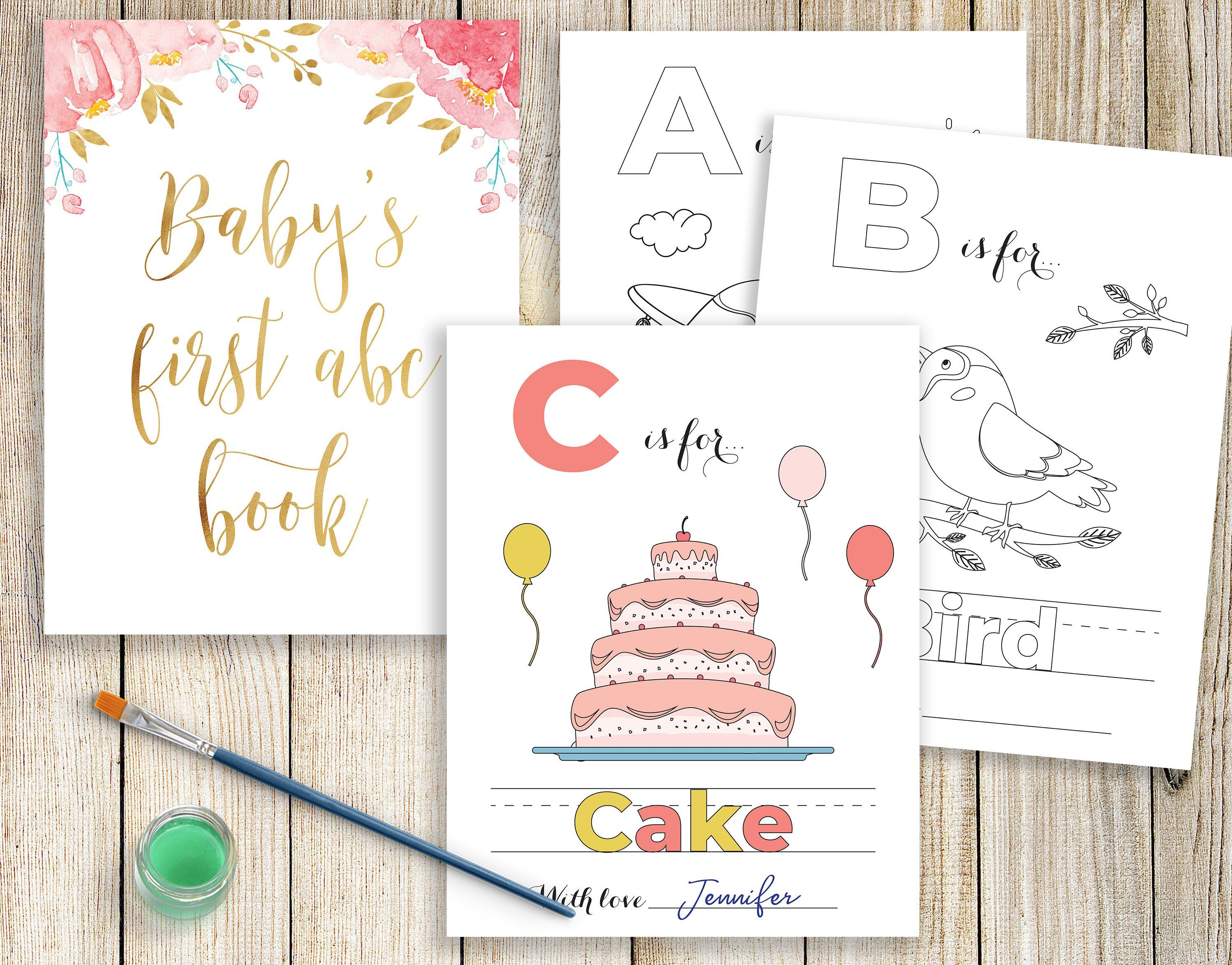 Baby S First Alphabet Book Baby Shower Abc Book Printable Baby Shower Coloring Pages Drawing B Baby Shower Book Baby Shower Activities Storybook Baby Shower
