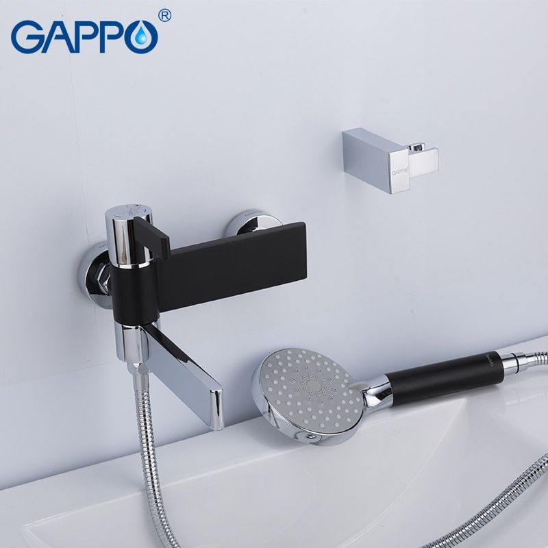 Gappo Sanitary Ware Suite Do Anheiro Taps Black And Chrome Wall