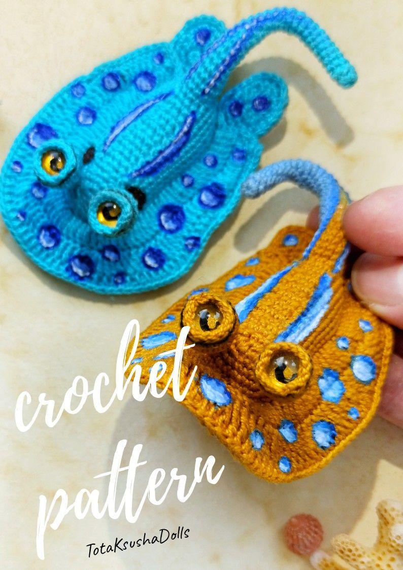 Sting ray PDF pattern. Crochet fish pattern. Sea decor.