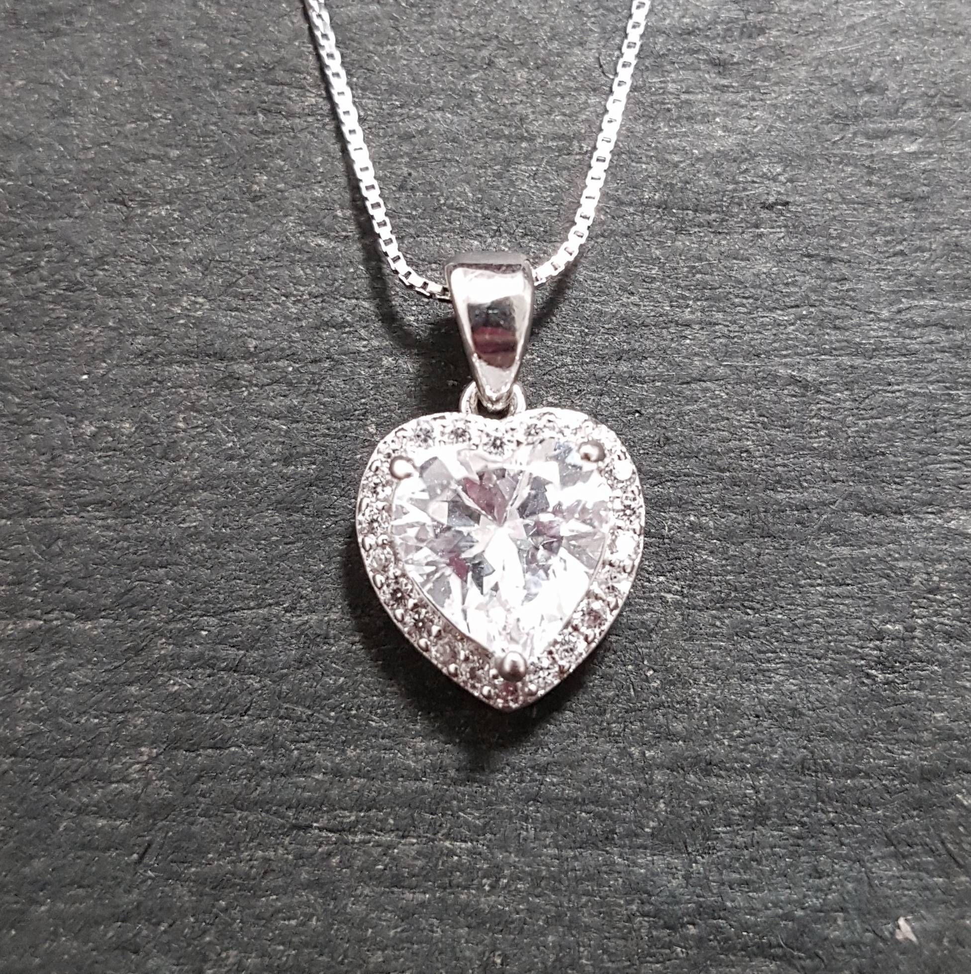 0e434bf44acb8 New 14k White Gold On 925 Double layer Heart Charm Pendant in 2018 ...