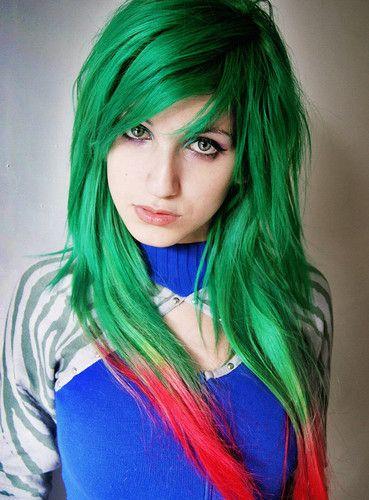 Inspiration In Glittering Blackness Green Hair Bright Hair Hair Styles