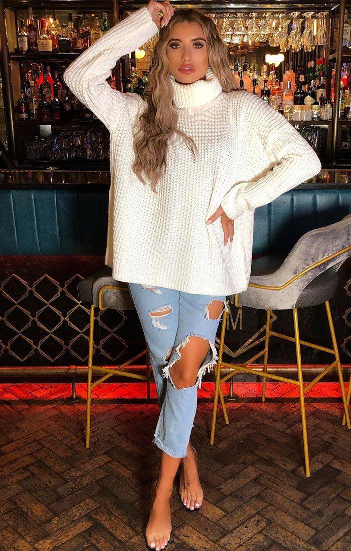 Cream Oversized Turtleneck Knit Jumper - Eliza #chunkyknitjumper