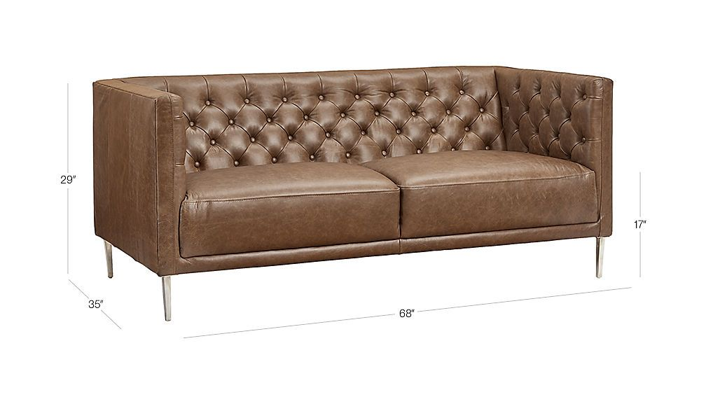 Image With Dimension For Savile Dark Saddle Leather Tufted