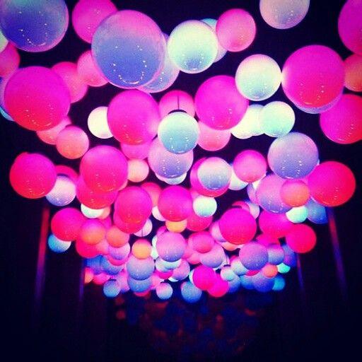 Pink glowing balloons