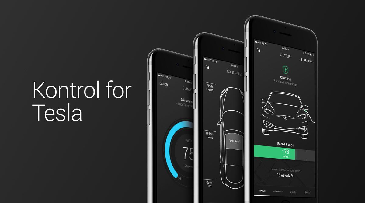 Kontrol for tesla app enhancing driving experience in