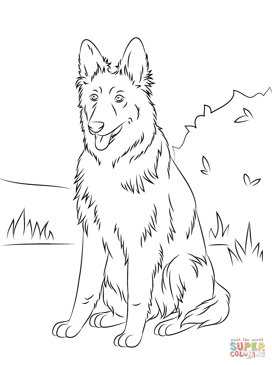 German Shepherd Sitting Super Coloring Plotter Schaefer Hunde