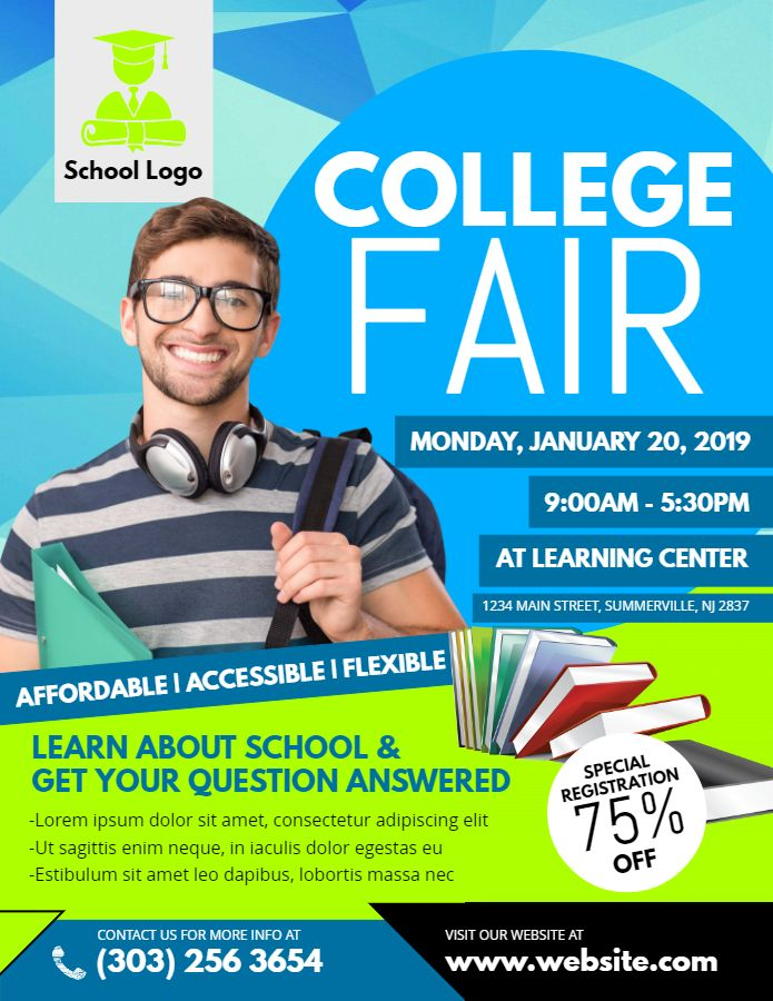 college fair flyer template school admission poster templates
