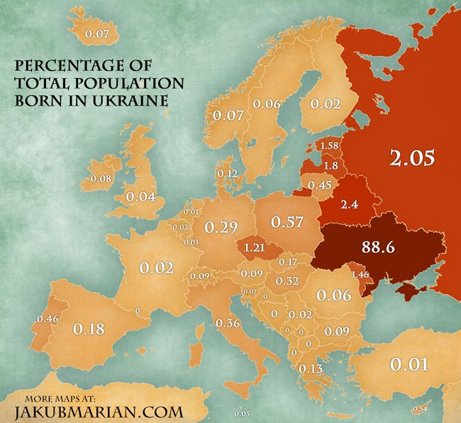 Ukrainian immigration geographical maps pinterest todays map shows the percentages of residents of european countries who were born in ukraine that is first generation immigrants of ukrainian origin and gumiabroncs Gallery