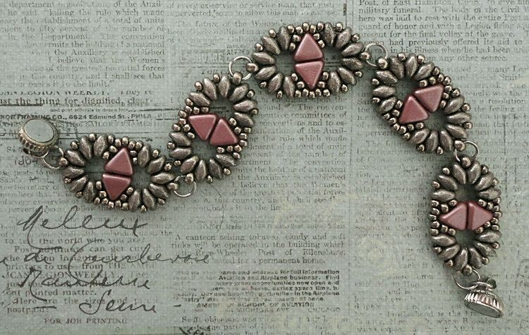Linda's Crafty Inspirations: Bracelet of the Day: Duo Kheops - Pink & Pewter