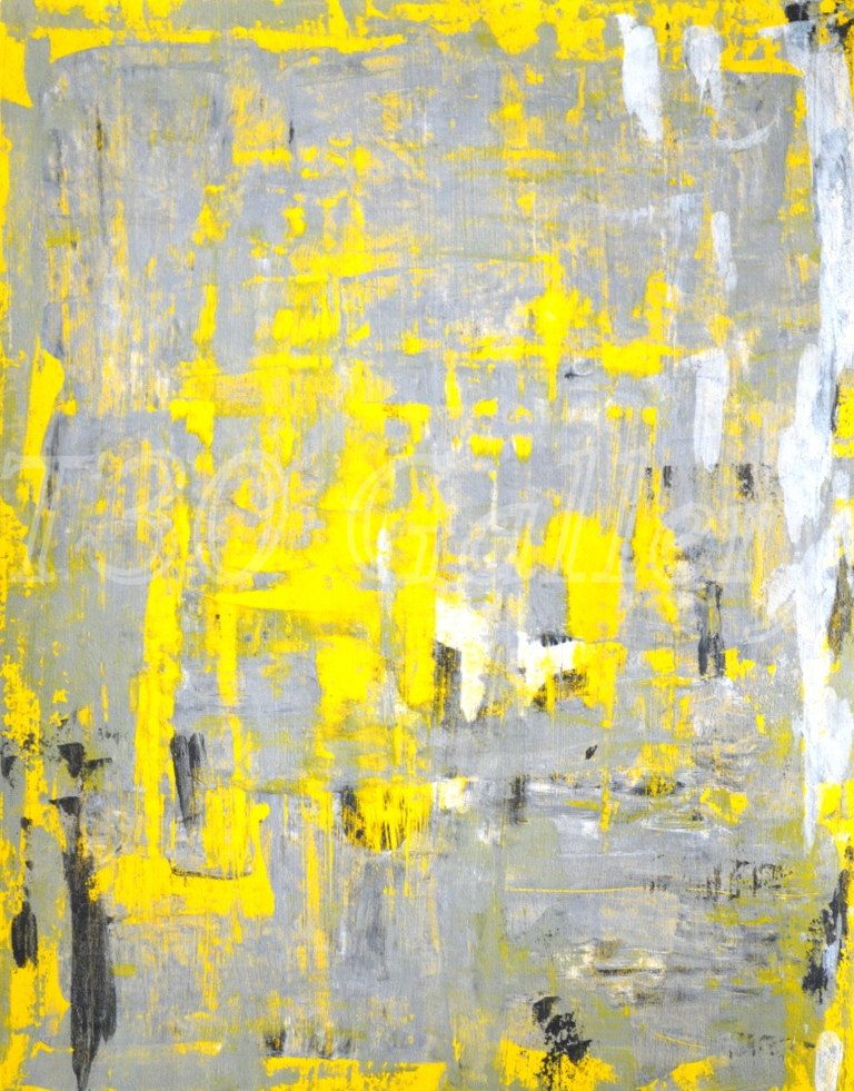 Grey and Yellow Abstract Art Print