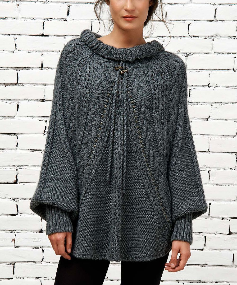 Gray Mock Neck Poncho