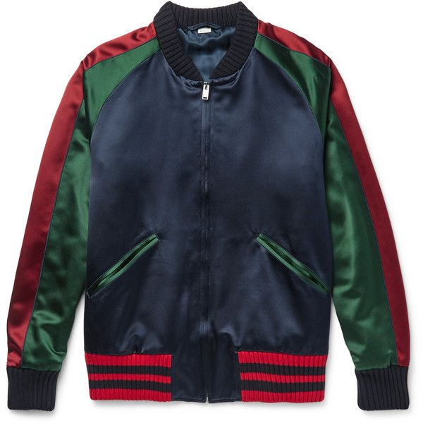 Gucci Appliquéd Silk-Satin Bomber Jacket ( 2,545) ❤ liked on Polyvore  featuring men s 70a8d7a6842