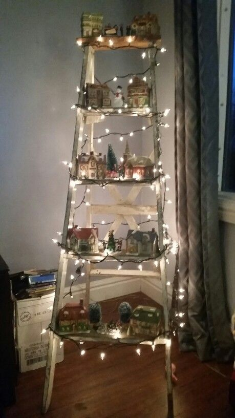 Rustic ladder turned into my home for my Christmas village ...