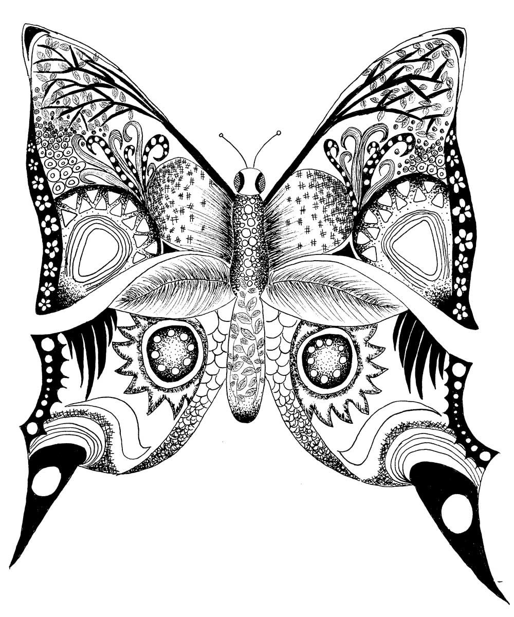 Difficult Adult Coloring Pages Printable Butterfly Tone